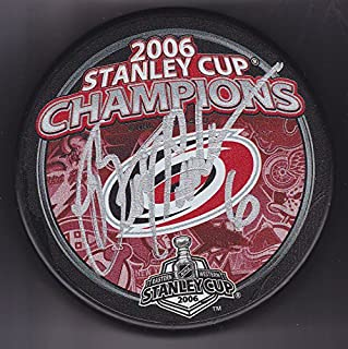 Bret Hedican autographed puck Carolina Hurricanes 2006 Stanley Cup Champions