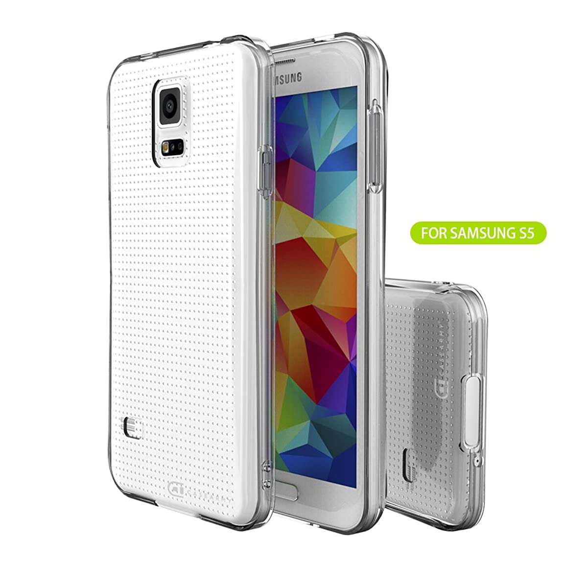 Case Army Galaxy S5 | S V | I9600 Clear Cover Case [Solid] Scratch-Resistant Clear Case for Samsung Galaxy S5 | S V | I9600 hard Shell back soft sides Silicone Crystal Clear Cover with TPU Bumper