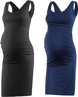 Qunisy Women's Sleeveless Maternity Tank Dress Ruched...