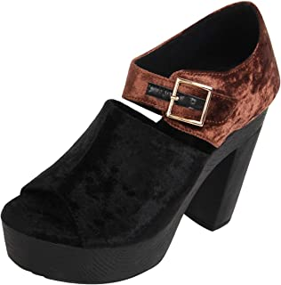 Catwalk Women's Buckle Detail Open Toe Booties