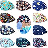 SATINIOR 10 Pieces Bouffant Caps with Buttons Colorful Printed Tie Back Caps Unisex Hats with Sweatband for Women Men Favors