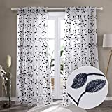 Deconovo Small Sheer Curtains with Pattern White Drapes Set of 2 Panels Modern Embroidered Rod Pocket Sheer Curtains Leaves for Kitchen - 2 Panels, Each 52x45 in, Navy Blue