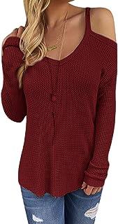 CNFIO Jersey Punto Mujer Invierno Cuello Redondo Mujer Camiseta Manga Larga Pull-Over Suéter Mujer Suelto Jerseys Primaver...