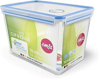Emsa 508549 Clip & Close Frischhaltedose | 10,6 L | Rechteckig | Maxiformat | Clipbox | -40 bis +100 Grad | 100% dicht