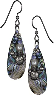 Dainty Turtle & Dangling Beads Layered over Abalone Tear Drop Shell Earrings by Silver Forest