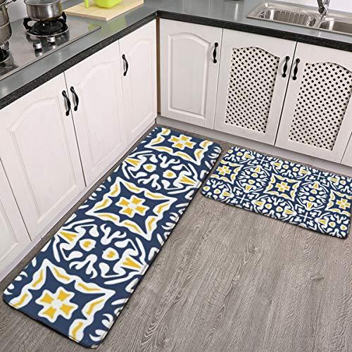 Juego de 2 alfombrillas de cocina, color azul marino y amarillo, diseño de azulejos mediterráneos, lavables y antideslizantes, para interiores y exteriores, juego de alfombras
