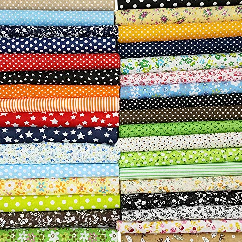 "50 Pcs 10"" x 10"" Craft Fabric Bundle Squares Patchwork Fabric Sets Cotton Material Quilting Fabric for DIY"