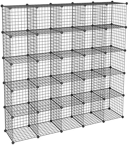 KOUSI DIY Wire Cube Storage Modular Metal Shelf Cubby Shelving Stackable Grid Organizer 25 Cube product image