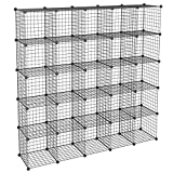 KOUSI DIY Wire Cube Storage, Modular Metal Shelf, Cubby Shelving, Stackable Grid Organizer, 12 Cube, Black