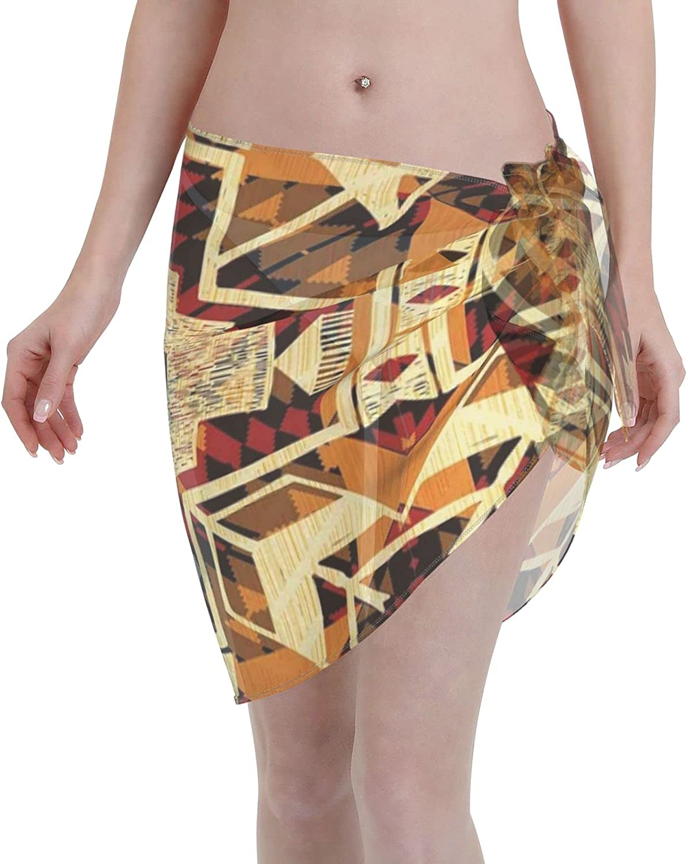 American Retro Aztec Pattern Women Short Sarongs Beach Wrap Swimwear Cover Ups Sheer Short Skirt Bikini Chiffon Scarf