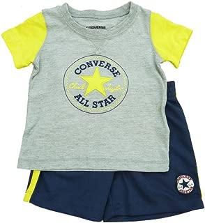 All Star Infant Boys Gray Yellow Shirt & Navy Blue Mesh Shorts Set