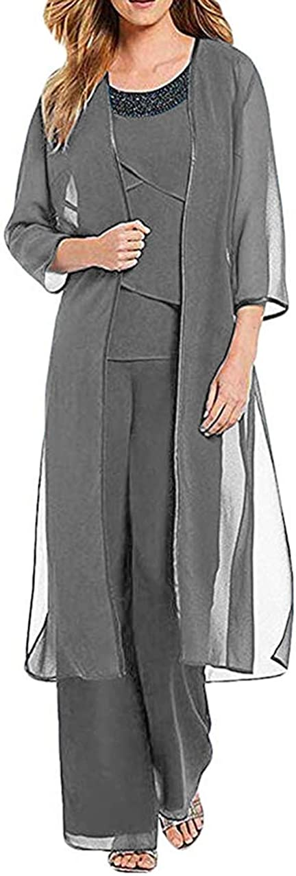 CY Women's 3 Pieces Chiffon Mother of The Bride Dress Pants Suit with Jacket Outfit for Wedding