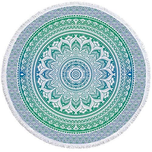 XIAOHUKK Toalla de Playa Redonda con Estampado Floral Azul-Verde Bohemio, cojín de Yoga portátil para Viajes en la Playa, Toalla de Playa con protección Solar de Secado rápido