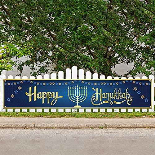 Jiudungs Large Happy Hanukkah Banner for Fence Hanukkah Star of David Menorah Decor Hanukkah Chanukkah Decoration and Supplies for Home