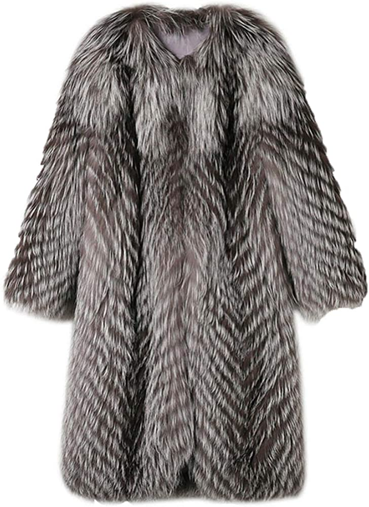Tngan Women's Long Luxury Faux Fur Parka Grey Thick Fox Fur Coat Warm Shaggy Jacket for Cold Winter Outerwear