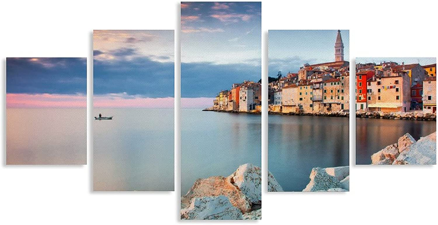 CVHFJYFT Limited price 5PCS House on 2021 new The Canvas Painting Sea Decoration Poster