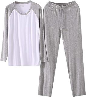 LANBAOSI Mens Sleepwear Pajamas Set Long Sleeve Crew Neck Tops and Lounge Pants with Pockets