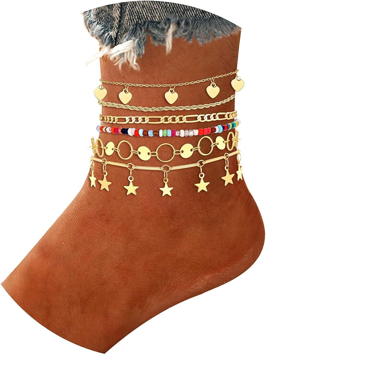 Boderier 6PCS Ankle Bracelet Set Star Moon Heart Rhinestone Anklets Bohemian Foot Chain Jewelry (Gold)