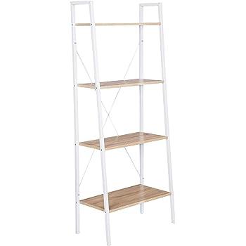 WOLTU Estantería Escalera Librería Organizador Multifuncional con 4 Estantes para Sala de Estar Blanco + Roble Claro RGB9283whe: Amazon.es: Hogar