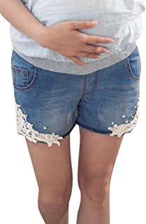 daa899baad19 Foucome Fit Belly Maternity Shorts Fringe Bottom Denim Shorts with Side  Crochet Lace Applique