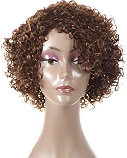 """Short Curly Human Hair Wigs for Black Women,HUA 8"""" Short Bob Wigs for Black Women No Lace Front Afro Curly Colored Side Part Human Hair Wigs (WIG P4/27)"""