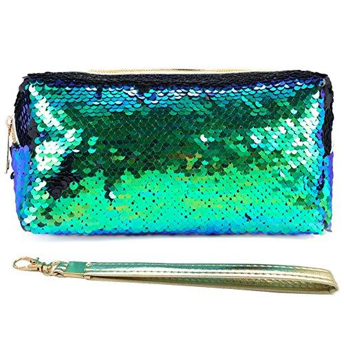 Uniuooi Glitzer-Kosmetiktasche, Meerjungfrauen-Spirale, wendbar, Pailletten tragbar, zweifarbig, für Studenten, Mäppchen für Mädchen und Damen, Make-up-Tasche mit abnehmbarem Griff(Grüne)