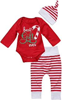 GSHOOTS Baby Boy Girls' 3pcs Set 'Best gift ever' Red Romper + Striped Pants + Hat Christmas Outfit (100 / 18-24 Months, Red Stripe)