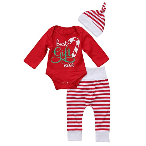 d0928f409568b GSHOOTS Baby Boy Girls  3pcs Christmas Outfit Set Red Romper + Striped  Pants + Hat