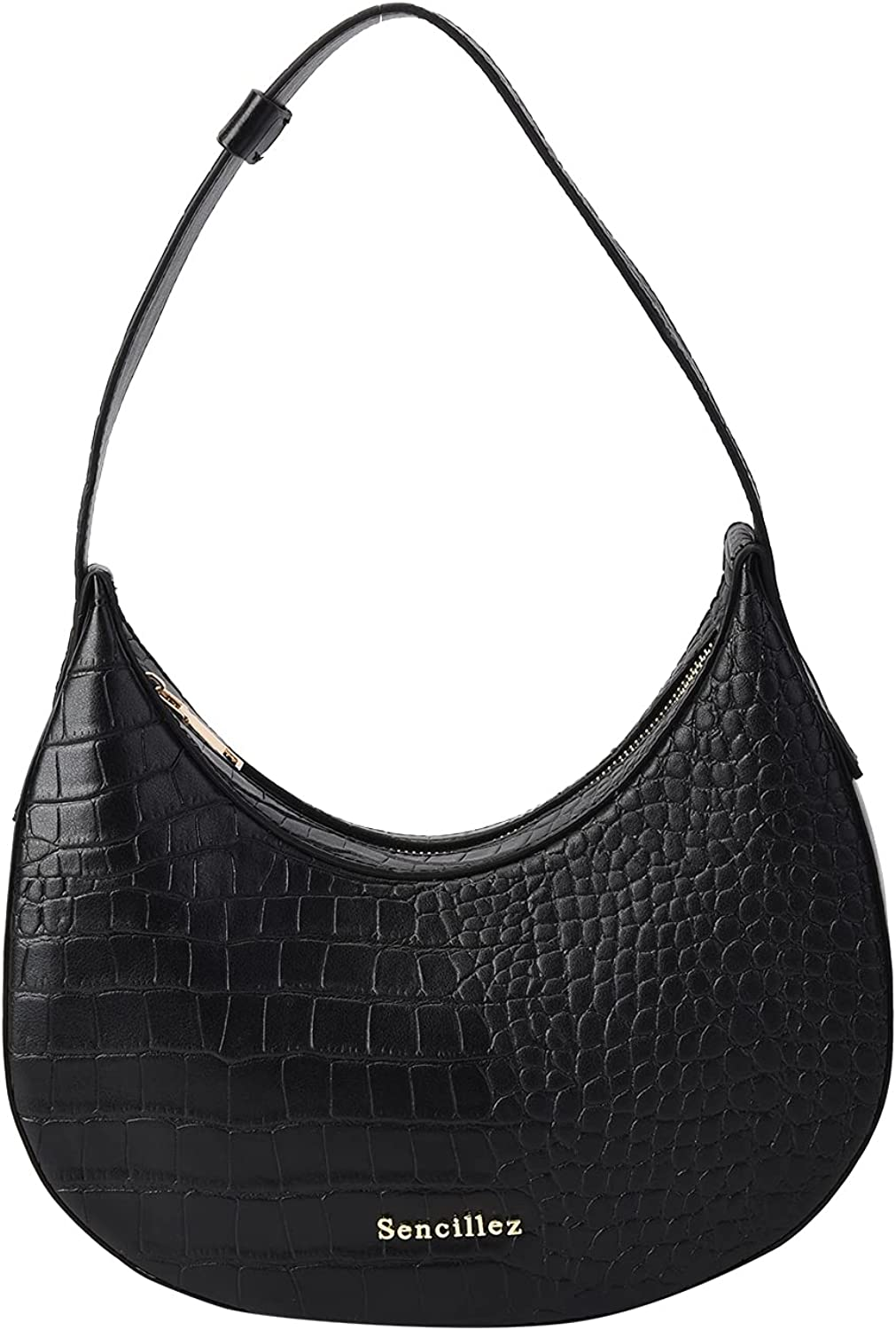 Shop LC SENCILLEZ Genuine Leather Hobo Swivel Croco Quality inspection Embossed Bag Outstanding
