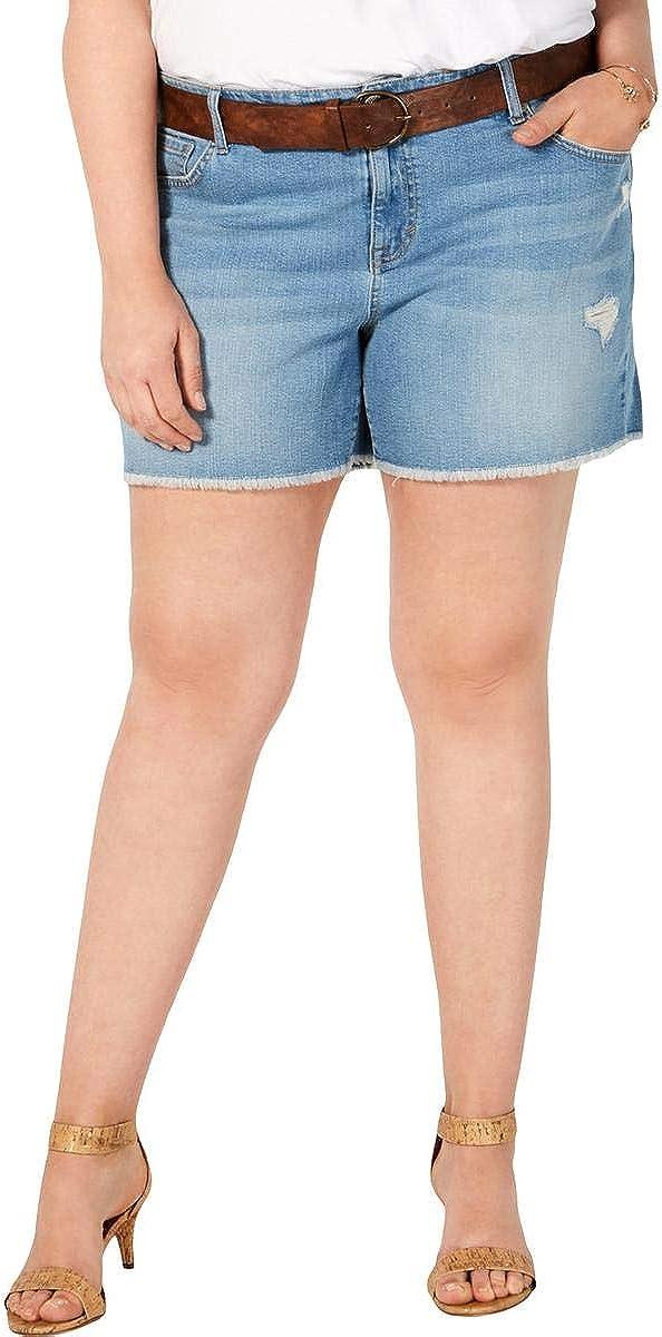 Style & Co. Womens Plus Distressed Denim Cutoff Shorts Blue 20W