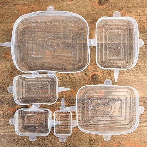 Ciao - 6 tapas de silicona elásticas universales para tapa/cuenco con tapa de silicona que cubren la tapa del microondas, tapa de plástico envolvente