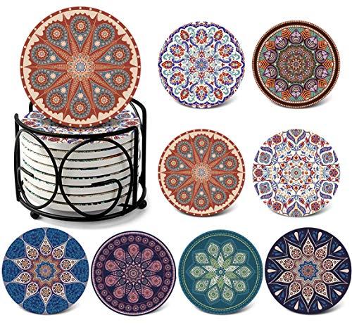 DINGHENG Untersetzer Saugfähige Keramik Untersetzer mit Korkrücken Mandala Stil für Tassen Tisch Bar Glas 8er Set