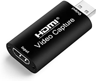 Tengchi Audio Video Capture Card HDMI to USB 2.0 — Broadcast Live, Record via DSLR, Camcorder, or Action cam, 1080p, Compa...