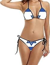 Kim Lennon Country Series Israel Flag Women's Sexy Hot Padded Bra Swimsuit Black