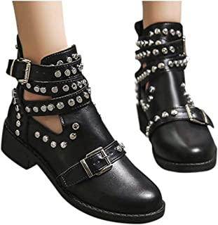 Boots for Women Heels and Pumps,Fashion Rivet Belt Buckle Ankle Boot Student Casual Large Size Single Boot