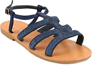Chumbak Raffia Multi-Strap Blue Sandals - 38