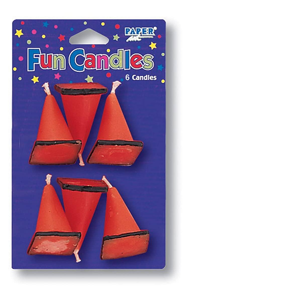 Creative Converting 6-Count Molded Candles, Cone-Shaped Under Construction - 105173