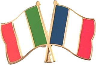 Italy & Francia bandiere dell'amicizia, preciso Spilla placcata in oro