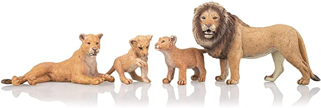 TOYMANY 4PCS Realistic Lion Figurines with Lion Cubs, 2-5