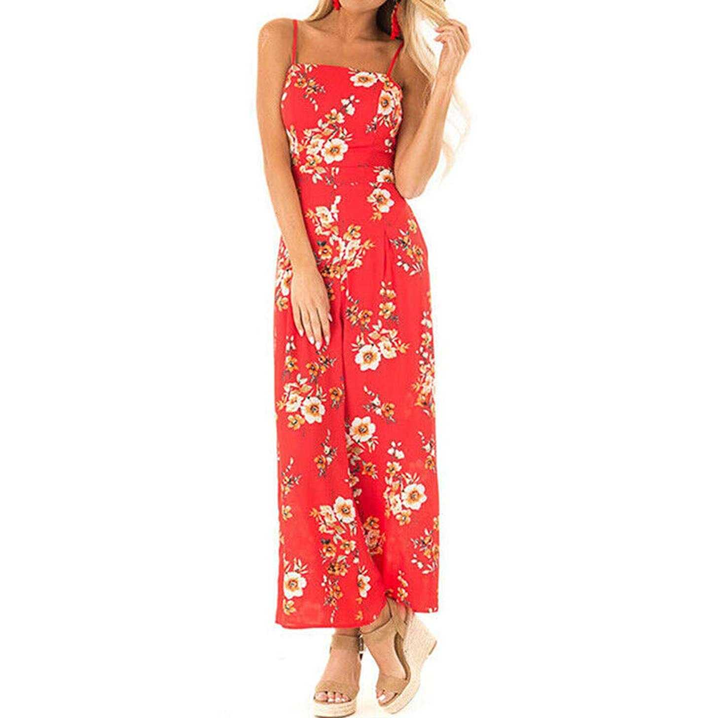 Caopixx Women's Floral Jumpsuits Strap Sleeveless Wide Leg Pants Casual Playsuits Rompers with Belt