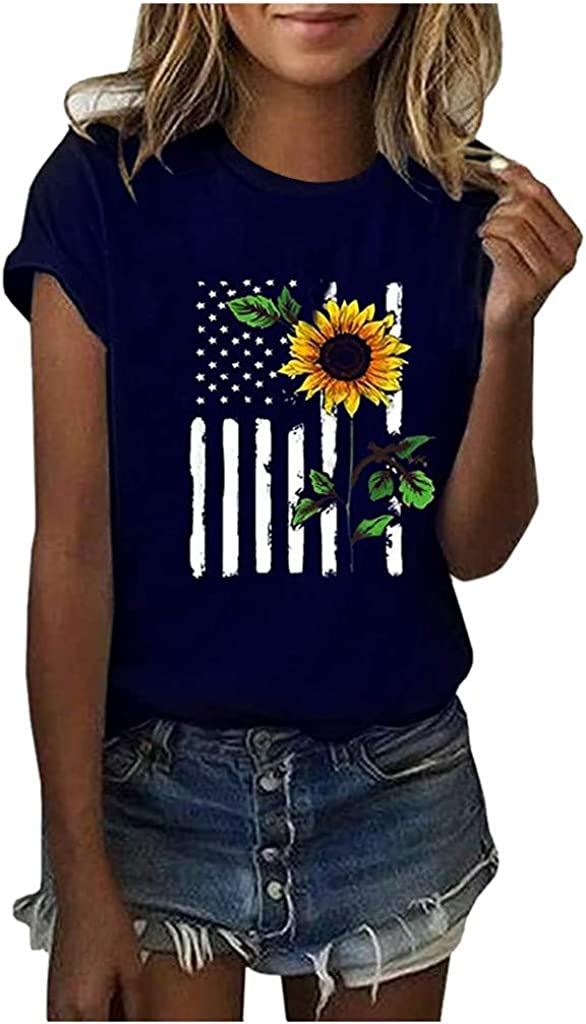 Women's Tops Sunflower Printing Short Sleeve Round Neck T-Shirt Casual Comfy Tunic Summer Fashion Blouses