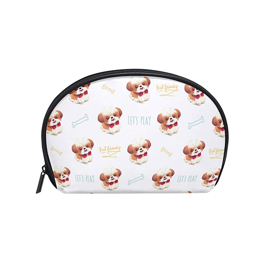 渇きシーズン報復する半月型 シーズー 犬 化粧ポーチ コスメポーチ コスメバッグ メイクポーチ 大容量 旅行 小物入れ
