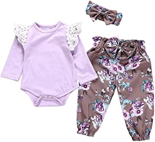 b1309072939f NUWFOR Infant Baby Girls Lace Romper Jumpsuit Floral Print Pants Headbands  Outfits Set