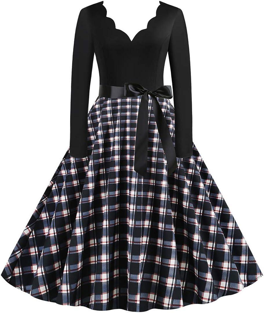 50s Dresses for Women Polka Dot Rockabilly Cocktail Retro Vintage 40s Midi Dress
