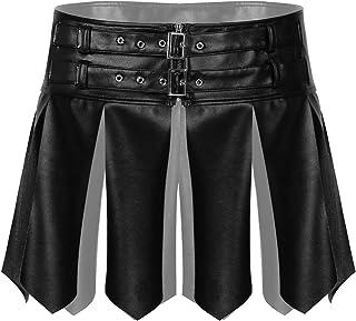 Freebily Men's Skirt Leather Latex Short Skirt with Tassel High Waist Elastic Belt Metal Sissy Lingerie Man Crossdresser L...