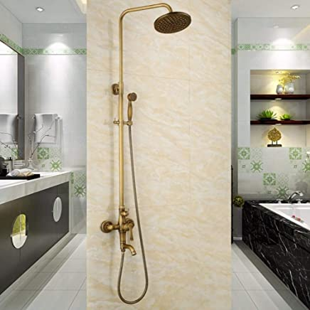 GZF Modern brass gold plated exposed retro shower bath faucet rising shower mixer