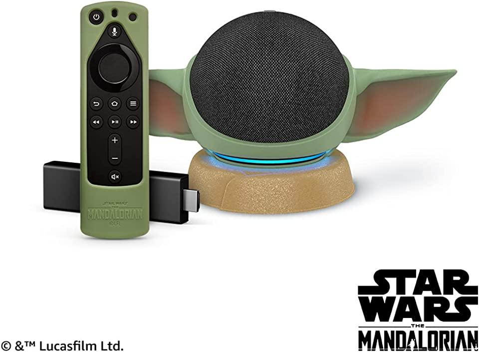 Echo Dot (4th Gen) - Charcoal and Fire TV Stick 4K with Star Wars themed remote cover (Grogu Green) and stand (stand will be released on June 10, 2021)