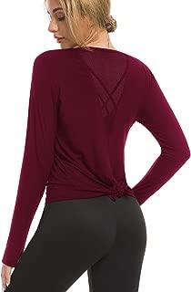Women's Long Sleeve Yoga Shirts Activewear Workout Tops Split Back Thumb Holes Sports T-Shirts