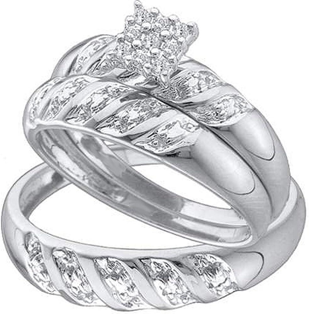 Dazzlingrock Collection 0.09 Carat (ctw) 10K Round White Diamond Men & Women's Cluster Engagement Ring Trio Bridal Set, White Gold