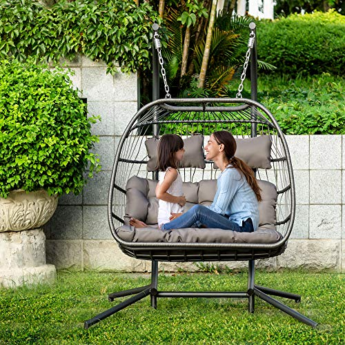 Bellemave Double Swing Chair, Luxurious Egg Chair with Stand and Cushion Pillow, Suitable for Indoor and Outdoor (Dark Green)